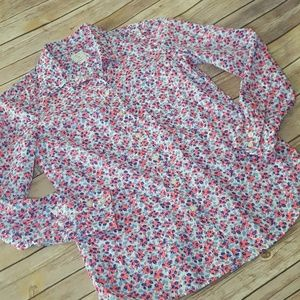 GAP Hot Pink Blue White Floral Button Down Shirt